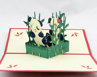 Pandas with bamboo in POP UP CARD