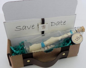 Message in a Bottle Save the Date and Engagement Announcement Custom Made