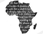 AFRICA Adoption Art Print // Chalkboard or Watercolor Verse// Christian Scripture Art Print // Ephesians 1