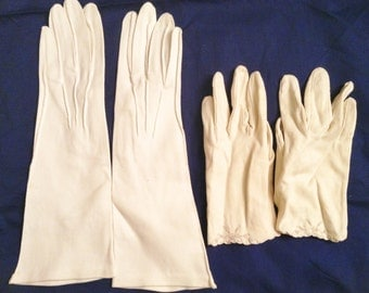 Set of Two off white gloves from the 60's or 70's.