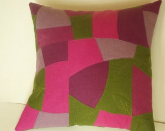Decorative throw mosaic pillow cover organic linen patchwork quilt cushion 16 x 16 gift ideas