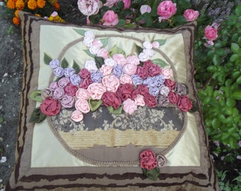 Pillow Cover Roses Basket in Brownh Shabby Chic Style Soft Pink Lilac Cushion Case with textile flowers  20 x20