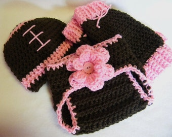 Football Hat, Diaper Cover, and Leg Warmers Set - Made To Order