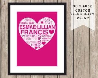 30 x 40cm CUSTOM Baby Heart Print