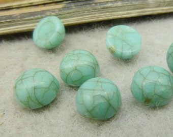 100PCS turquoise 8mm round resin cabochon- WC5015