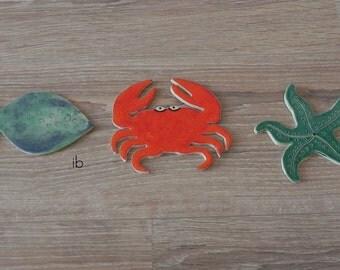 Ceramic Big Mosaic Tiles Fish Crab Starfish Pottery Ocean Art Supplies