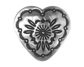 Concho Heart 1.25 inch ( 32 mm ) Metal Shank Button