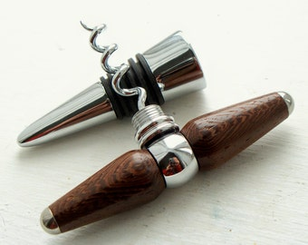 Hand-turned wenge wood corkscrew and bottle-stopper