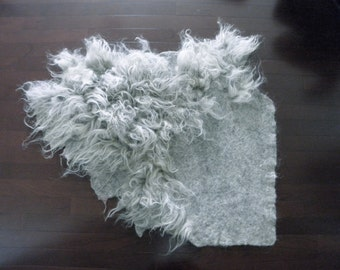 "Wool Fleece Felted Rug/ Capet in Organic Shape, Raw Wool Fleece 47"" x 40"" - Slow design.  momoish made."