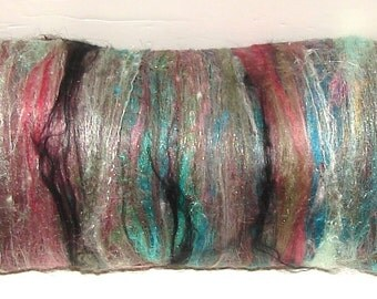 Smooth Art Batt for Spinning and Felting- Berry Wood