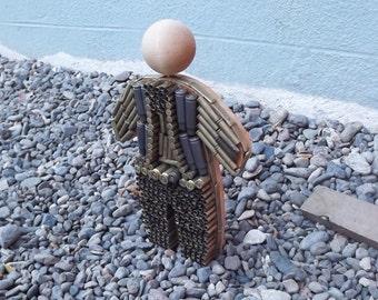 3 D Gun Shell Casing  Art Doll, Gun Shell Casing Cowboy, Wooden Doll, Fun Gun Shell Guy, Art Doll, Whimsical Dad Shelf Doll