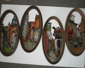 Vintage Set Of Four Three Dimensional Oval Old World European City Scape Wall Plaques By Burwood