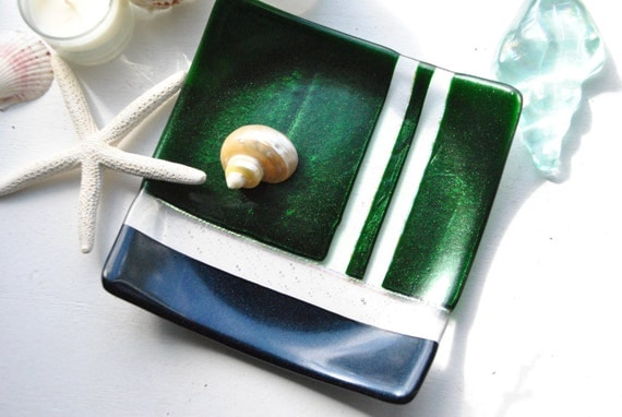 Square Glass Dish: 7x7 plate with green and cobalt blue aventurine (sparkly) glitter glass