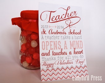 Printable Teacher Valentines Day Card - Personalized Teacher Valentine - Teacher Gift