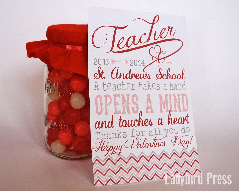 Printable Teacher Valentines Day Card Personalized Teacher