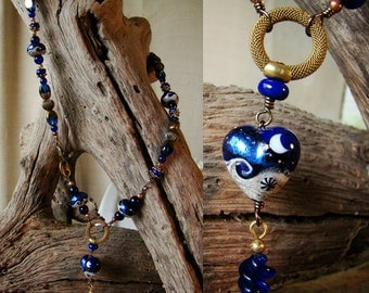 Heart and Sand - Lampwork Heart of Metallic Blue & Sand