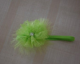 Shabby Chic/Vintage Lace Style Headband Lime Green