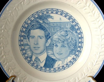 Prince Charles and Diana Royal Wedding Adams Plate England Ironstone 1981 Blue Transferware