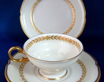 Luxe Gold Aria Cup And Saucer With Plate White And By Castleton USA 1940s