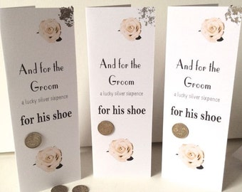 Silver Sixpence card for the groom