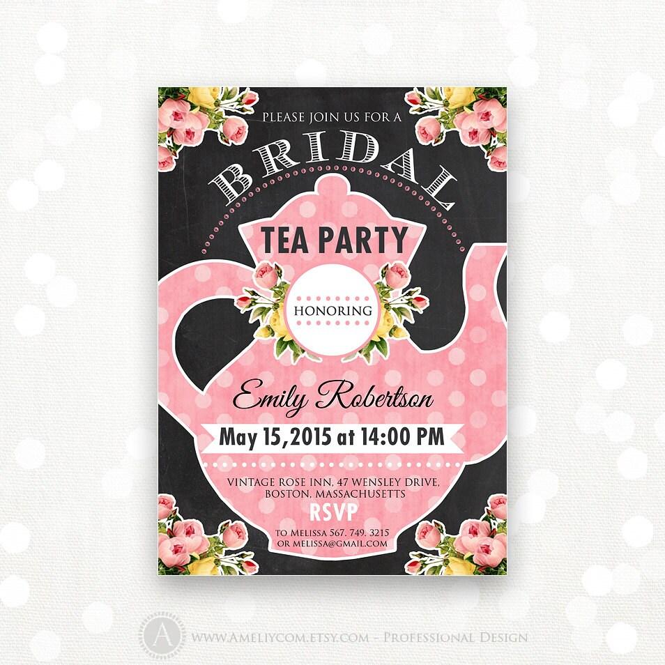 Printable Bridal Tea Party Bridal Shower Invitation Bridal
