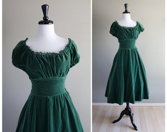 Gorgeous Green Velvet 1950s Vintage Peasant Dress with Full Circle Skirt / Joan Norton Irwin