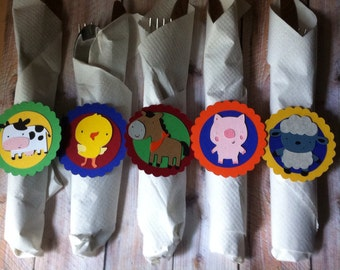 12 Farm Animal Utensil Wraps, Farm Birthday, Baby Shower, Barnyard Theme, First Birthday, Party Decorations, Cows, Pigs, Horse, Sheep, Duck