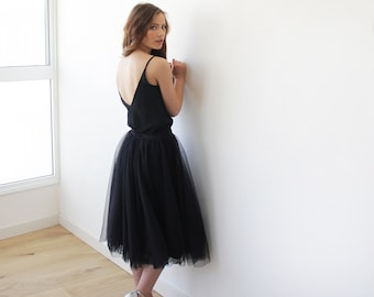 Tulle midi black skirt, Knee length black tulle skirt, Black tulle skirt 3006