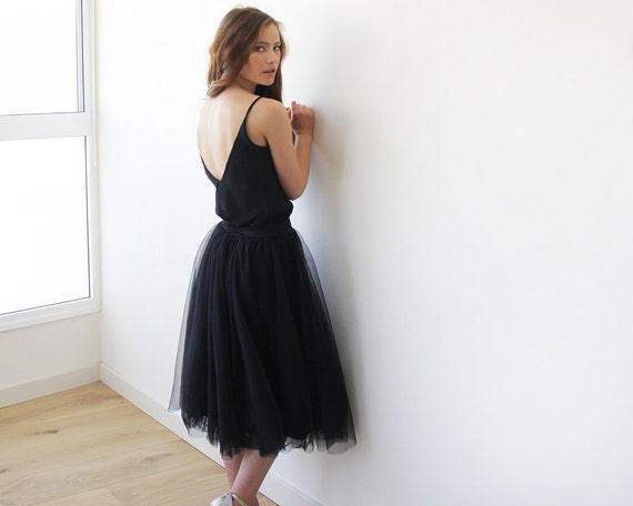 Tulle midi black skirt, Knee length black tulle skirt