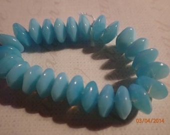 Vintage 1960's Baby Blue Rippled Disc Glass Beads/West German/PJsBeadedEagle