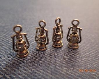 Camping Lantern Mini Charms/set of 4/Silver Plate/PJsBeadedEagle