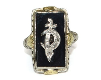 Antique Ring - Antique 1930s Diamond and Black Onyx Saber Ring in 14k Yellow & White Gold