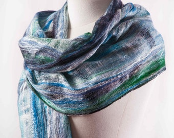 Made to Order. Shimmer. Cobweb Felted Scarf. Sky Blue. Forest Green. Ivory Silk.