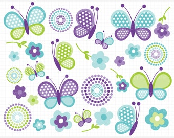 Clipart - Mother's Day / Blue Butterflies / Spring Butterfly - Digital Clip Art (Instant Download)