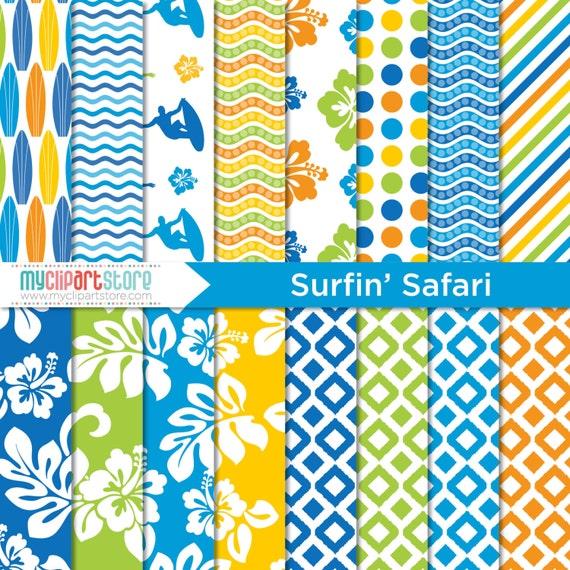 Digital Paper - Surfin' Safari / Beach / Surfing / Summer Paper - Instant Download