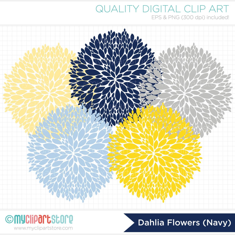 Clipart Dahlia Flowers Navy Blue Yellow Grey Digital