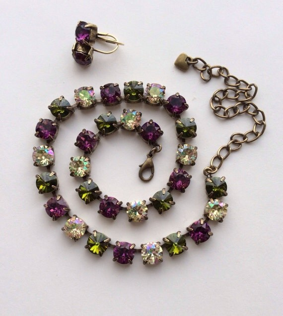 "Swarovski Crystal 8.5mm Necklace  Sister Necklace to  ""Medieval Renaissance"" - Amethyst, Olive & Luminous Green - FREE SHIPPING"
