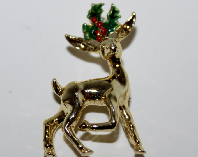 Gerry's Fawn Deer with Mistletoe Christmas Brooch