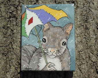 Rainy Day Squirrel, Original oil painting, small painting, squirrel painting