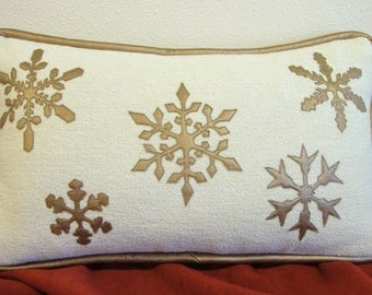 Metallic Gold Leather Snowflake Pillow on Winter White Chenille with Herringbone Back & Leather Welt. 14 x 24 w/down  (Made to Order)