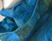 "One of a Kind Felted Ruffle Scarf  ""Costa Verde Storm"""