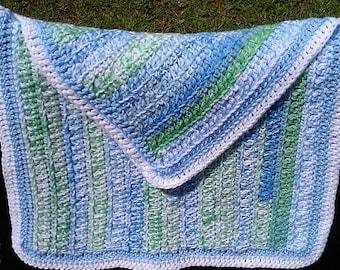 Baby Blanket Crochet blue, green and white stripes