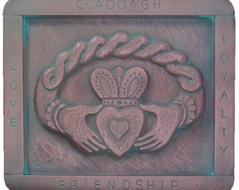 Claddagh copper plaque from my original woodcarving