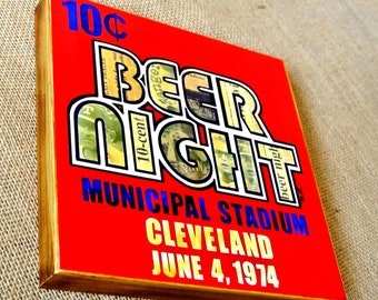 10 Cent Beer Night Cleveland Indians - 8x8 Handmade Wood Print