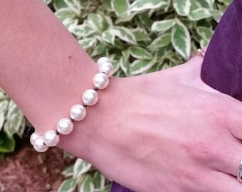 Swarovski Pearl and Black Waxed Linen Bracelet - Creamy White, For Her, For Girlfriend, Birthday, Simple, Unusual, Gift for Artist, Modern
