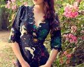 Enchanted Garden Scallop Wrap Dress