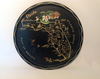 Vintage souvenir round serving tray from the state of Florida.