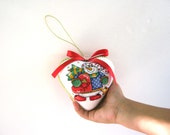 Christmas cross stitched heart - gift for Christmas, toy, handmade, red, snowman, heart,ornament