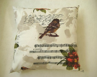 """Shabby Chic Home - Linen Beige Brown Pillow Cover with Bird, Music notes and Orange Flower Print - 18x18"""" - Gift for Her, for Mom"""
