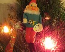 Vintage Christmas Ornament Santa Elf Helper Made in Japan